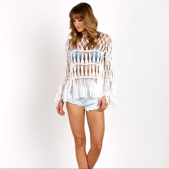Show Me Your Mumu Tops Dreamweaver Crochet Fringe Top Sahara